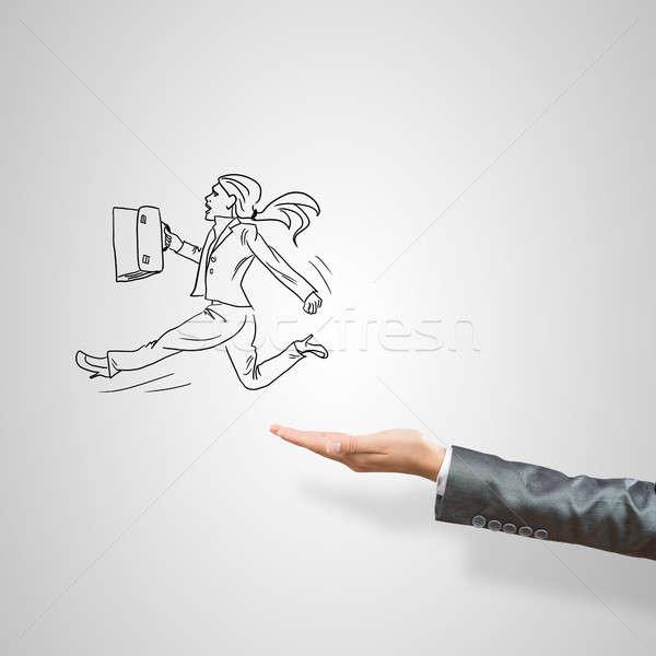 Kobieta interesu dłoni kobiet szary działalności Zdjęcia stock © adam121