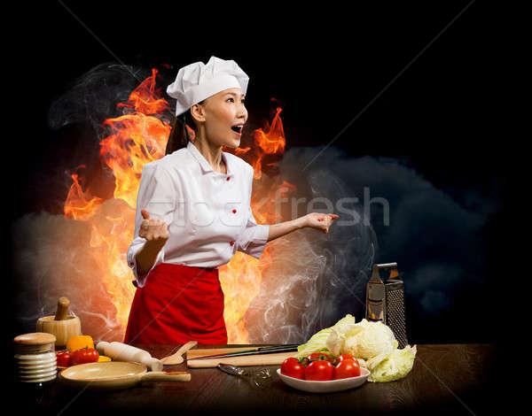 Asian kobieta wściekły gotować kolaż kucharz Zdjęcia stock © adam121