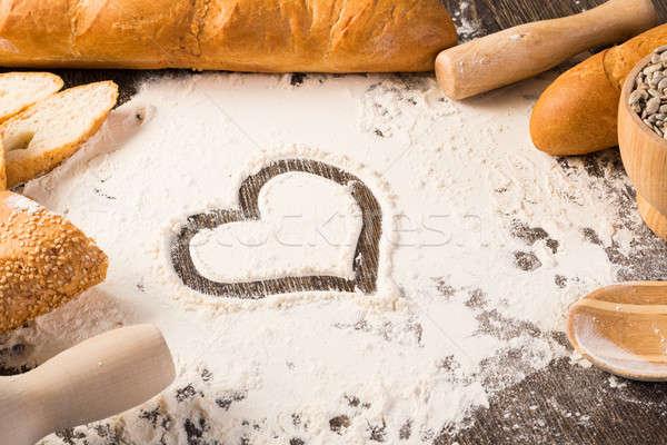 小麦粉 白パン 中心 シンボル 木製 表面 ストックフォト © adam121