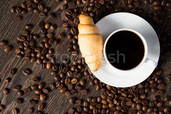 Кубок черный кофе круассан кофе вокруг искусства Сток-фото © adam121
