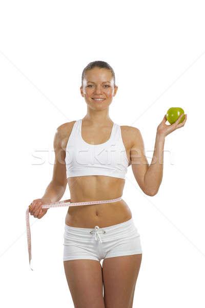 Photo stock: Jeunes · mètre · à · ruban · image · vert · pomme