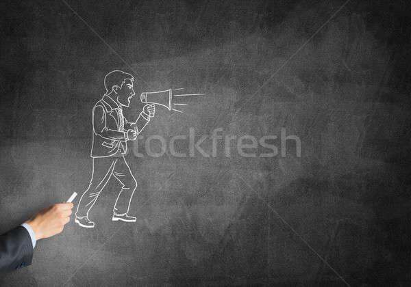 Karykatura biznesmen mężczyzna strony rysunek kredy Zdjęcia stock © adam121