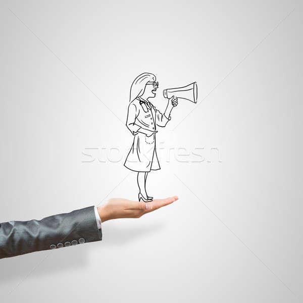 Kobieta dłoni lekarza kobiet szary Zdjęcia stock © adam121