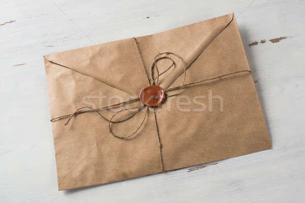Lettera sigillo tavola vecchio busta cera Foto d'archivio © adam121