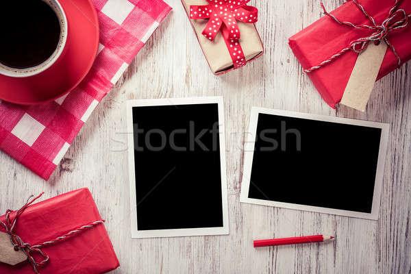 Blank photo frames on table Stock photo © adam121