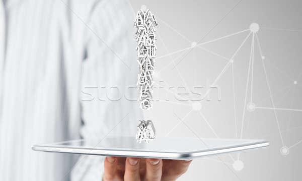 Felkiáltójel tabletta kéz üzletember mutat táblagép Stock fotó © adam121