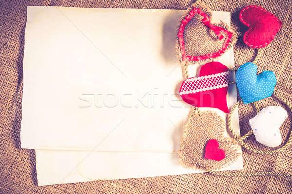 Csináld magad képeslap kézzel készített szeretet szívek üres papír Stock fotó © adam121