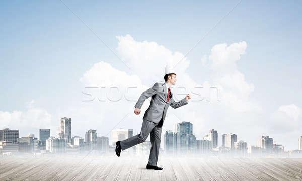 Rei empresário elegante terno corrida moderno Foto stock © adam121