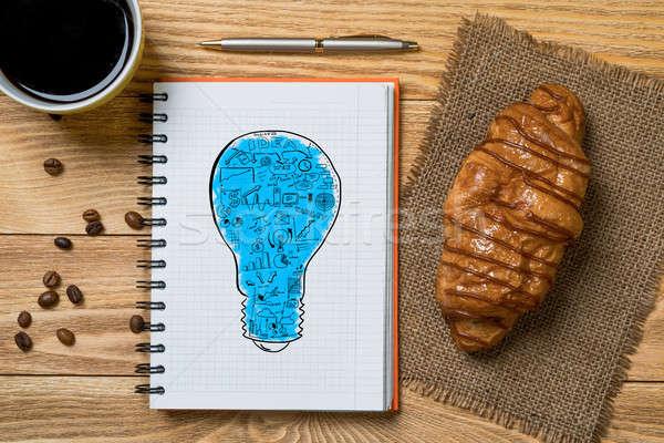 Słodkie przekąska nowego pomysł notatnika filiżankę kawy Zdjęcia stock © adam121