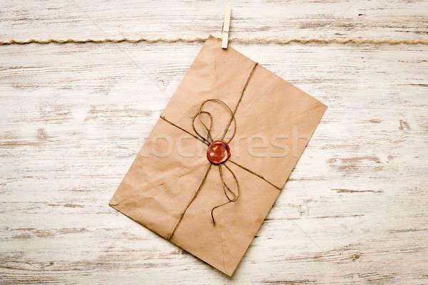メール 封筒 ロープ 絞首刑 木製 紙 ストックフォト © adam121