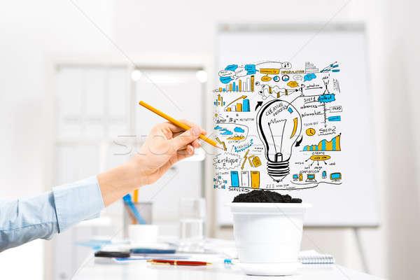 Nő jövedelem kéz üzletember rajz ceruza Stock fotó © adam121