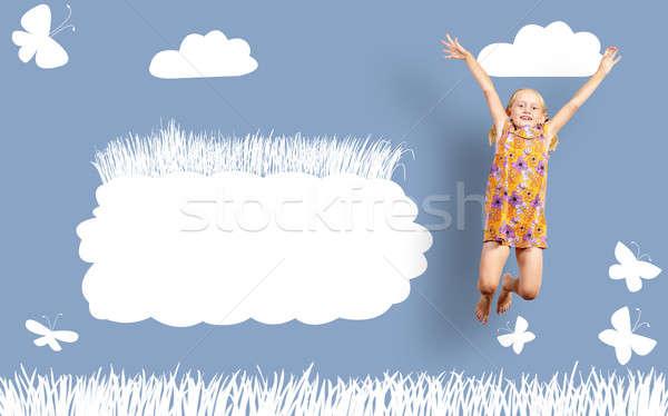 Stock fotó: Lány · ugrik · szín · ruha · festék · fal