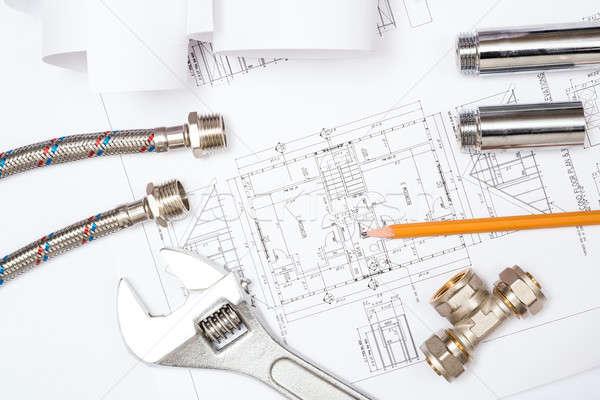 plumbing and drawings, construction still life Stock photo © adam121