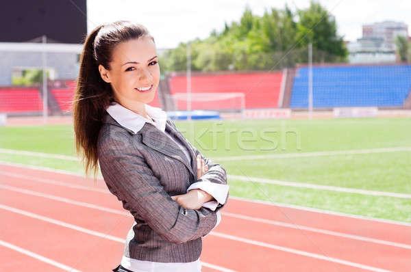 Portret piękna business woman sportowe stadion konkurencja Zdjęcia stock © adam121