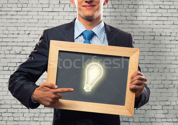 Stock photo: Businessman with frame