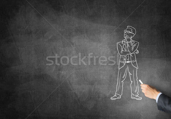 Caricature of thoughtful businessman Stock photo © adam121