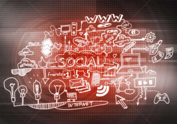 Foto stock: Social · interacción · ideas · imagen · medios · de · comunicación · social · negocios
