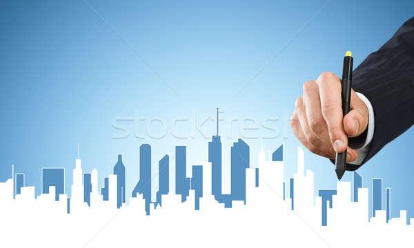 Mérnöki designer munka kéz férfi rajz Stock fotó © adam121