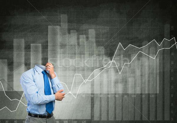 Töprengő üzletember fej kar áll gondolkodik Stock fotó © adam121