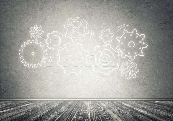 ギア メカニズム チームワーク 手描き グレー 壁 ストックフォト © adam121