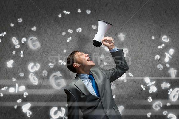 Agresszív vezetőség fiatal üzletember sikít férfi Stock fotó © adam121