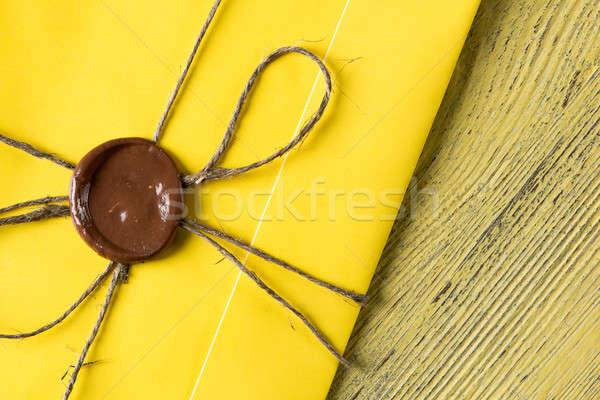Brief zegel tabel Geel envelop wax Stockfoto © adam121
