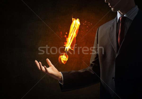 Yangın ünlem işareti simge palmiye karanlık Stok fotoğraf © adam121