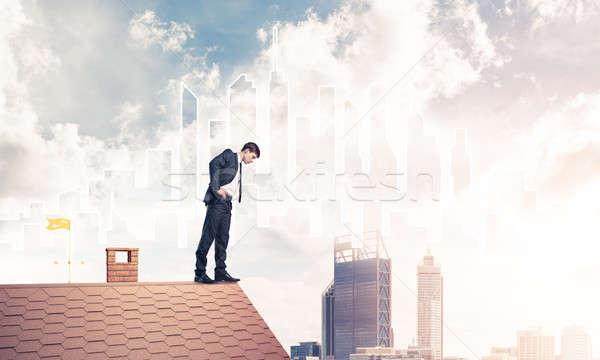 ビジネスマン 下向き 屋根 現代 景観 小さな ストックフォト © adam121