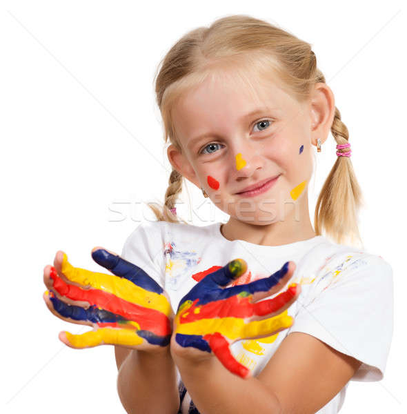 girl with painted hands Stock photo © adam121