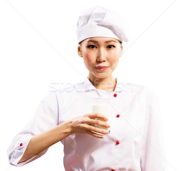Femenino Asia chef vidrio leche Foto stock © adam121