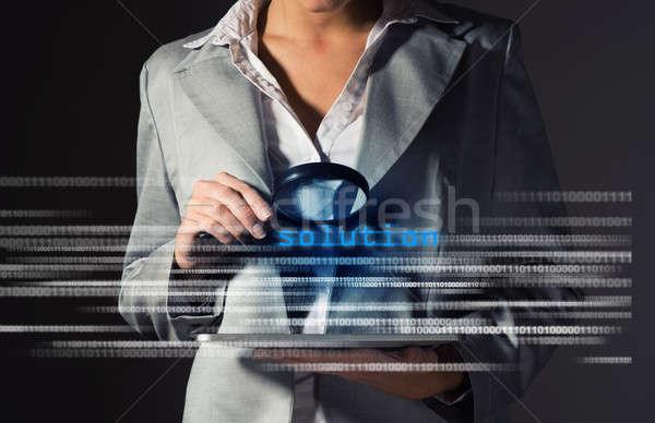 Mujer de negocios solución información seguridad Internet comunicación Foto stock © adam121