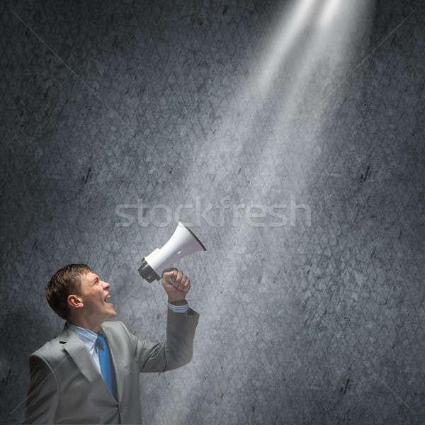 Agressivo gestão jovem empresário gritando homem Foto stock © adam121