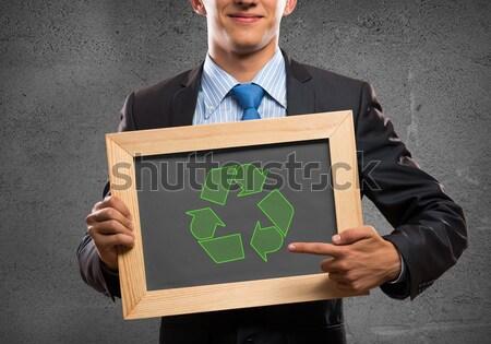 Foto stock: Empresário · quadro · quadro-negro · reciclar