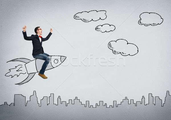 Stok fotoğraf: Adam · roket · genç · işadamı · uçan