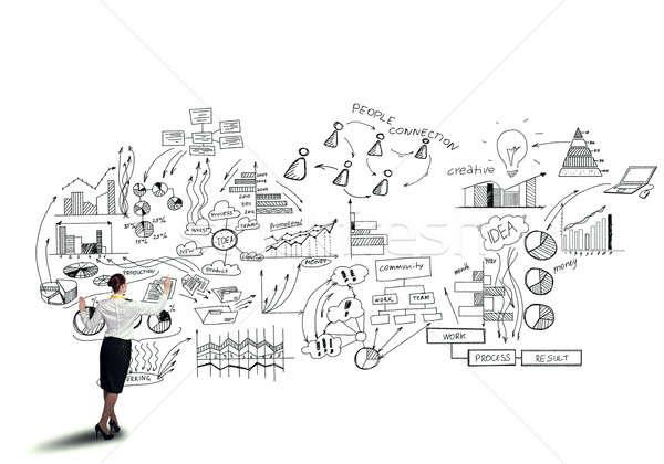 成功した マーケティング 計画 背面図 女性実業家 孤立した ストックフォト © adam121