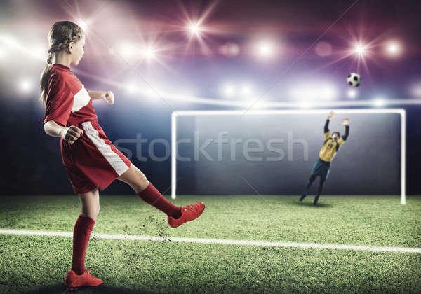 Stock fotó: Futball · gól · gyerek · lány · futballista · stadion