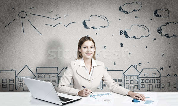 Designer in process of creative work Stock photo © adam121