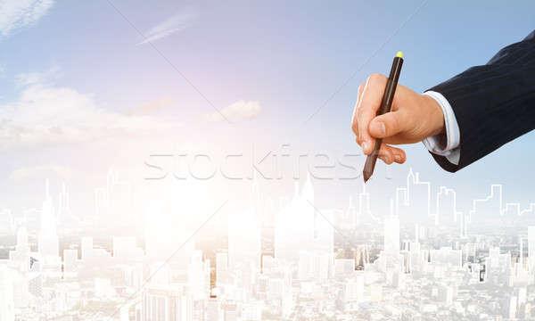 Engineering ontwerper werk hand man tekening Stockfoto © adam121