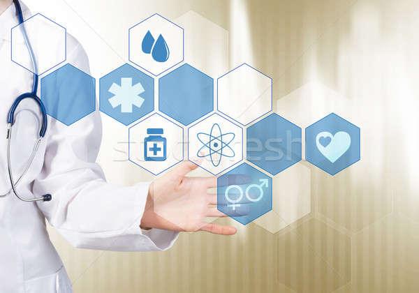 Technologie hulp hand vrouw arts aanraken Stockfoto © adam121