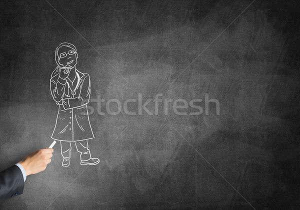 Karykatura kobieta lekarza mężczyzna strony rysunek Zdjęcia stock © adam121