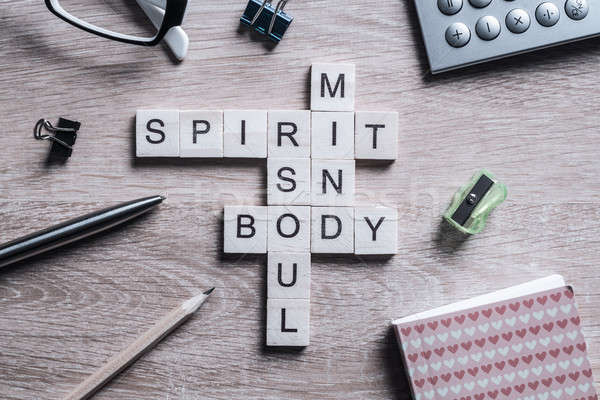 Spirit soul mind and body words made of wooden cubes Stock photo © adam121