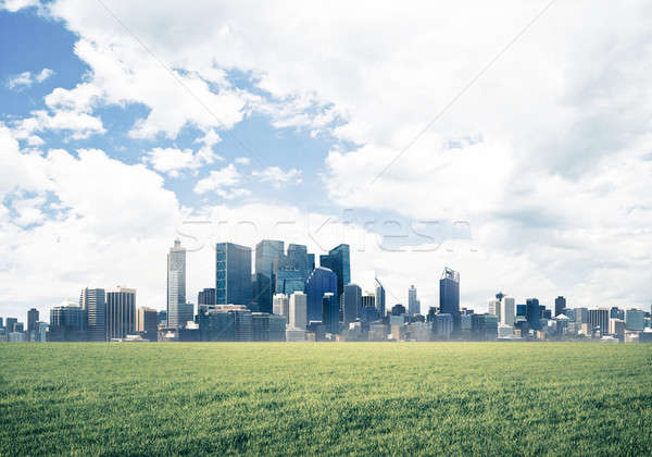 Natural landscape view of skyscrapers and urban buidings as symb Stock photo © adam121