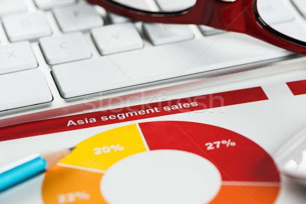 Moyenne ventes rapport affaires travail clavier Photo stock © adam121