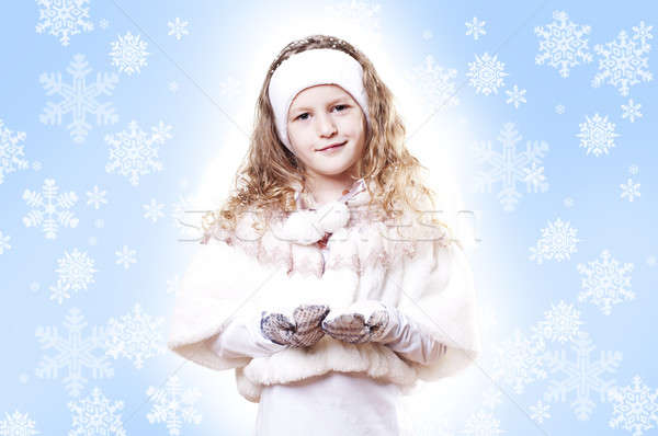 Winter Girl snow flake blue background Stock photo © adam121