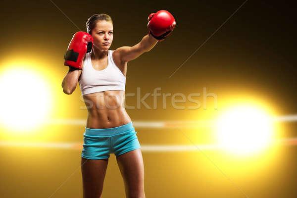 Сток-фото: портрет · женщину · Боксер · агрессивный · готовый · девушки