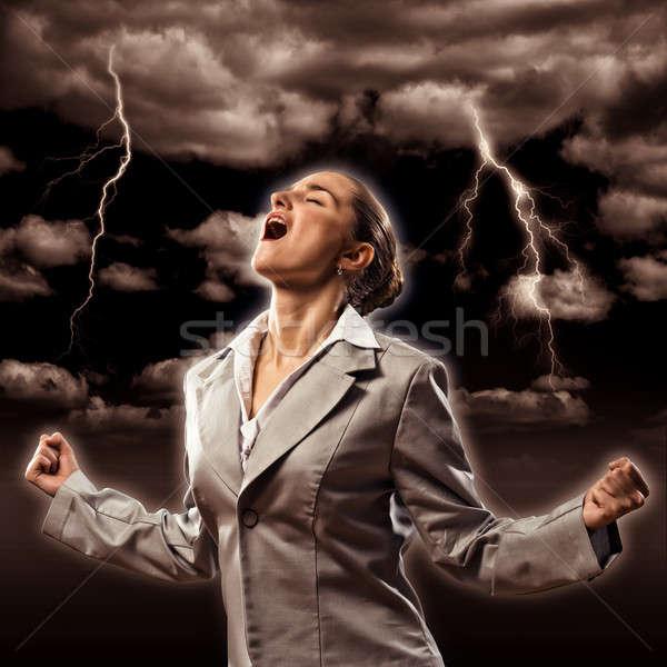 Violento mujer furioso armas persona Foto stock © adam121
