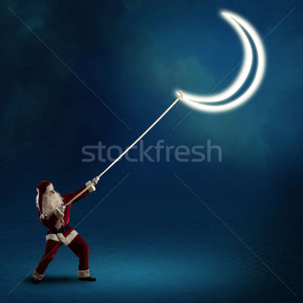 Święty mikołaj księżyc szczęśliwy sztuki zimą noc Zdjęcia stock © adam121
