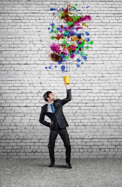 創造的思考 小さな ハンサム ビジネスマン 黄色 バケット ストックフォト © adam121