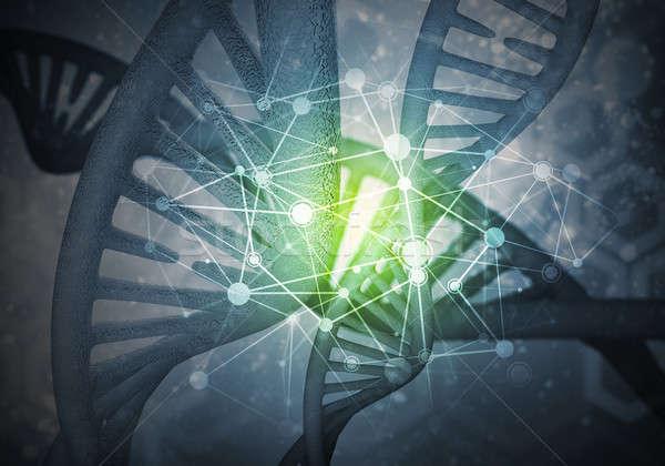 Stock photo: DNA molecules background, 3D rendering