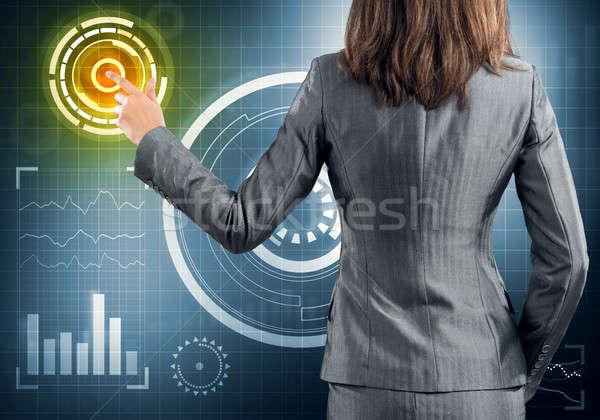 Сток-фото: деловая · женщина · Постоянный · назад · икона · СМИ